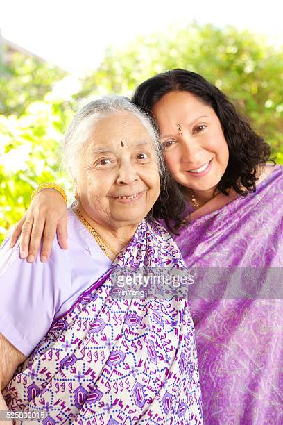 Portrait of Indian Family- Mother and Daughter Vertical