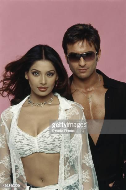 2000 Portrait of Indian film actor Saif Ali Khan and actress Bipasha Basu