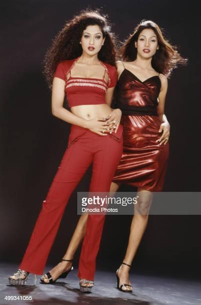 2001 Portrait of Indian Film actress and model Suman Ranganathan and Nethra Raghuraman