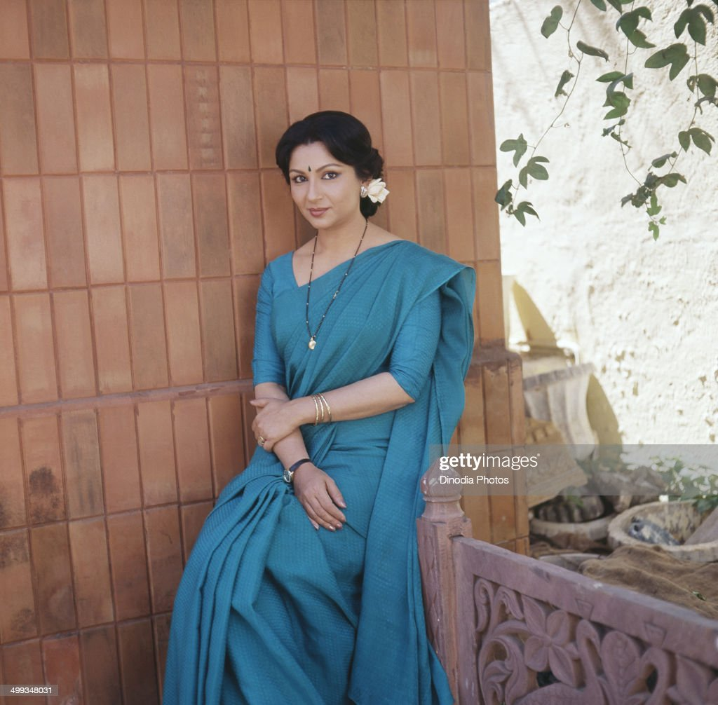 1986, Portrait of Indian film actress Sharmila Tagore.