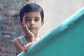 Portrait of Indian Little Boy Posing to Camera