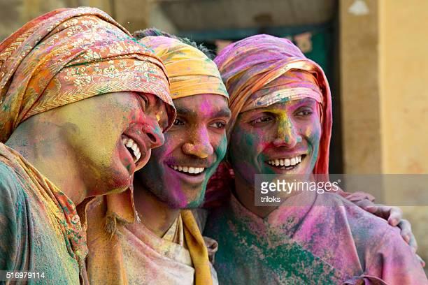 Portrait of Indian men playing holi