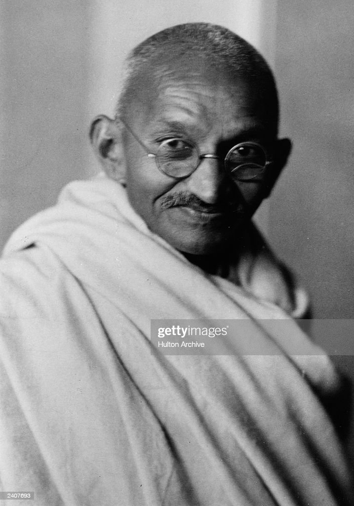A portrait of Indian nationalist leader Mohandas Karamchand Gandhi popularly known as Mahatma Gandhi whose policy of peaceful demonstration led India...