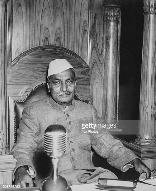 Portrait of Indian President Rajendra Prasad following his appointment at the Constitutional Assembly in New Delhi January 31st 1950