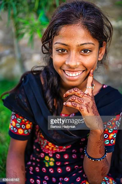 Portrait of Indian young girl with henna tattoo, Jaipur, India