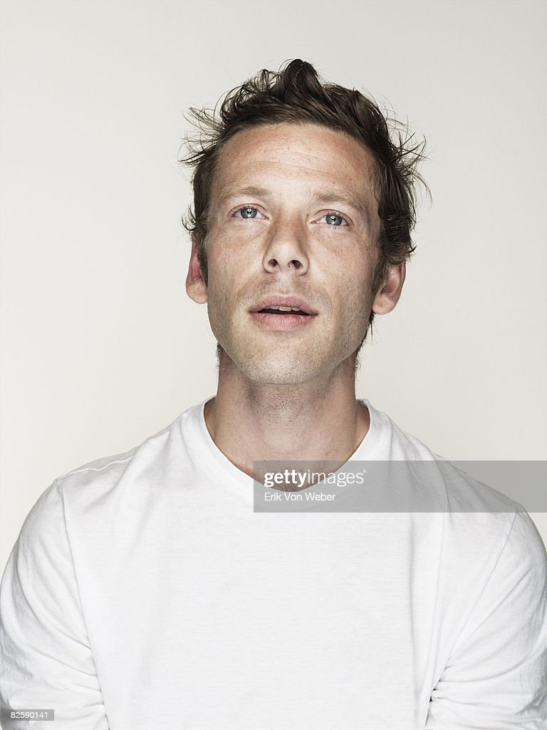 Portrait of Individual on a white background : Stock Photo