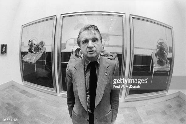 Portrait of Irish painter Francis Bacon as he poses at a restrospective of his work at the Metropolitan Museum of Art New York New York March 19 1975...
