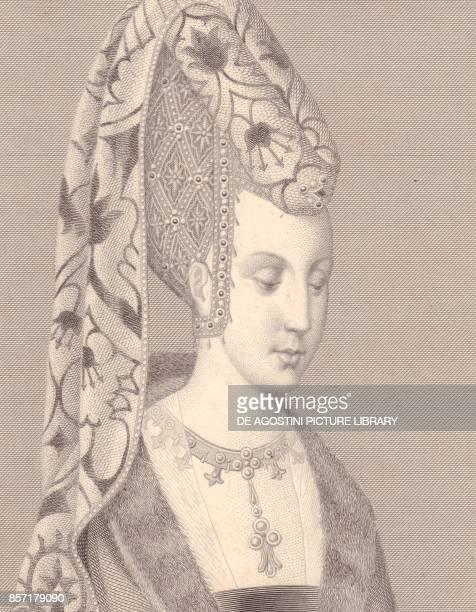 Portrait of Isabelle or Isabeau of BavariaIngolstadt Queen of France engraving 12x9 cm from Galerie Historique de Versailles Histoire de France...