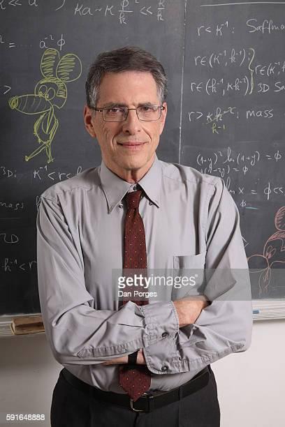 Portrait of Israeli Chemistry Professor Abraham Nitzan as he poses in front of a blackboard in a classroom at Tel Aviv University Tel Aviv Israel...
