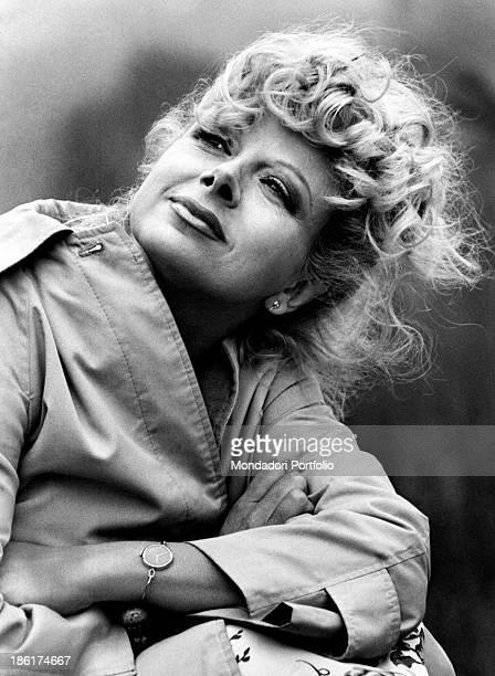 Portrait of Italian actress and TV presenter Sandra Milo wearing a raincoat Rome 1978