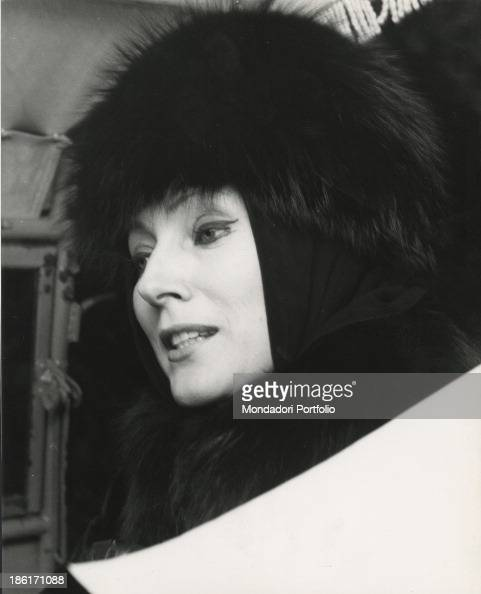 Portrait of Italian actress Valentina Cortese wearing a fur hat and a beaver and fox fur coat Milan 1950s
