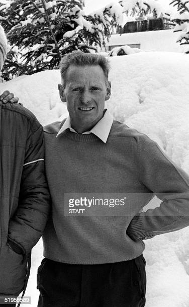 Portrait of Italian bobsledder Eugenio Monti taken 15 February 1968 in Alpe d'Huez during the Winter Olympic Games Monti won his first two gold...