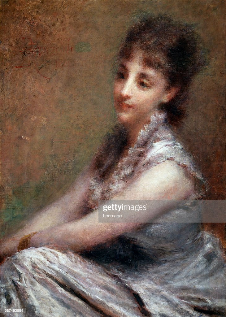 Portrait of Italian countess Arrivabene Painting by Daniele Ranzoni 1880 Dim 61x87 cm Milan Galleria d'Arte Moderna