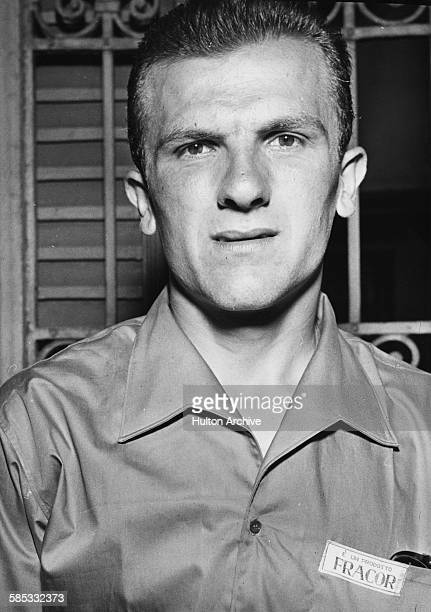 Portrait of Italian cyclist Diego Ronchini prior to his departure to participate in the World Championships in Copenhagen in Milan August 21st 1956