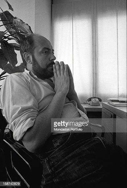 Portrait of Italian fashion designer and entrepreneur Elio Fiorucci Milan 1977