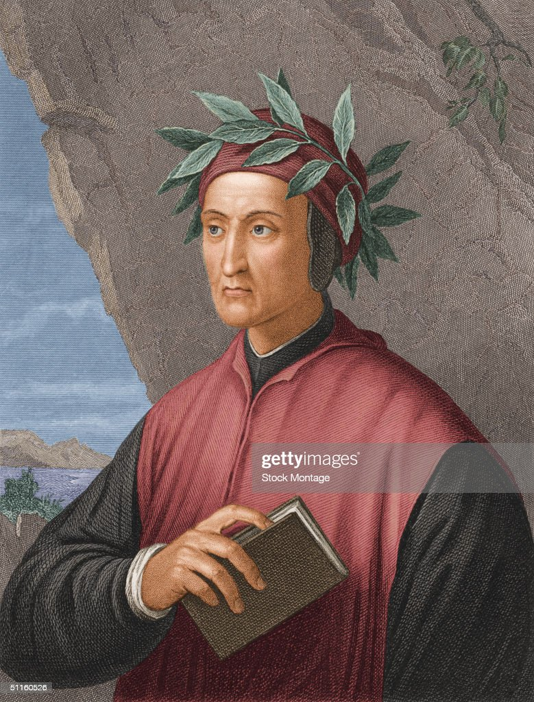 Portrait of Italian poet politician and author Dante Alighieri early 14th Century Author of 'The Divine Comedy'