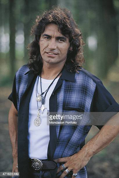 'Portrait of Italian rocker Luciano Ligabue for a photo shooting shooted in the countryside around Reggio Emilia Correggio July 1996 '