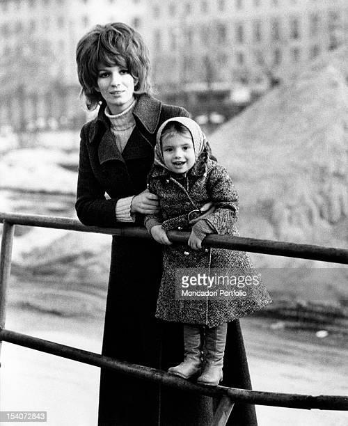 Portrait of Italian singer and TV presenter Iva Zanicchi with her daughter Michela Ansoldi Milan 1970s