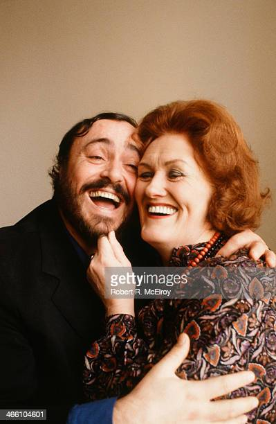 Portrait of Italian tenor Luciano Pavarotti and Australian coloratura soprano Joan Sutherland at Lincoln Center January 22 1979