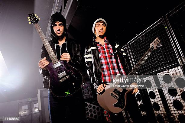 Portrait of Jack Barakat and Alexander Gaskarth of American pop punk group All Time Low at the Bristol O2 Academy taken on January 26 2010