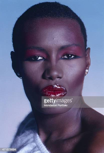 Portrait of Jamaican singer and actress Grace Jones 1987