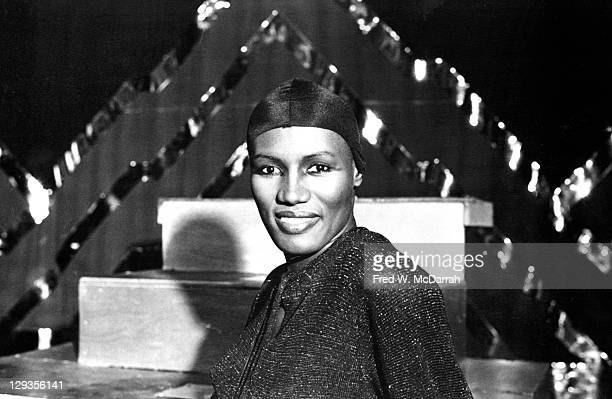 Portrait of JamaicanAmerican model actress and singer Grace Jones at the nightclub Studio 54 New York New York December 29 1977