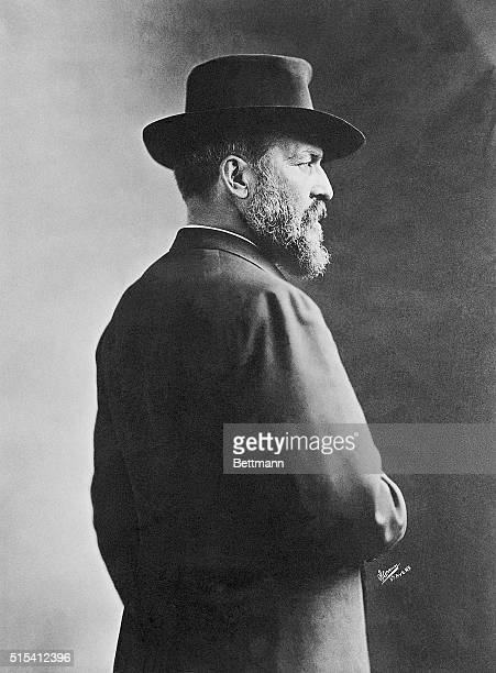 A portrait of James Abram Garfield the twentieth President of the United States in 1881 He is shown from the back wearing a hat and a coat and...