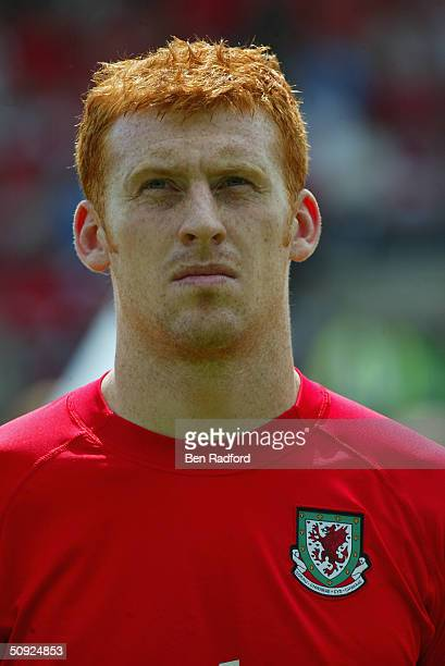 Portrait of James Collins of Wales prior to the international friendly match between Wales and Canada at the Racecourse Ground on May 30 2004 in...