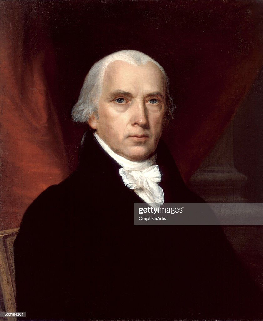 Portrait of James Madison the 'Father of the Constitution' by an unknown artist 1816 The portrait was commissioned by James Monroe
