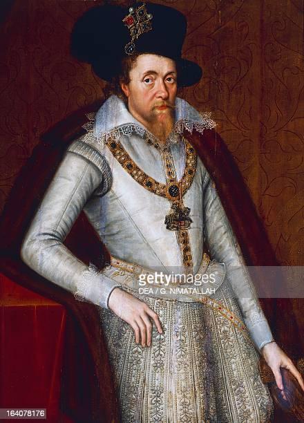 Portrait of James Stuart King of Scots as James VI from 1567 and King of England as James I from 1603 16051606 paintingby John De Critz England 17th...