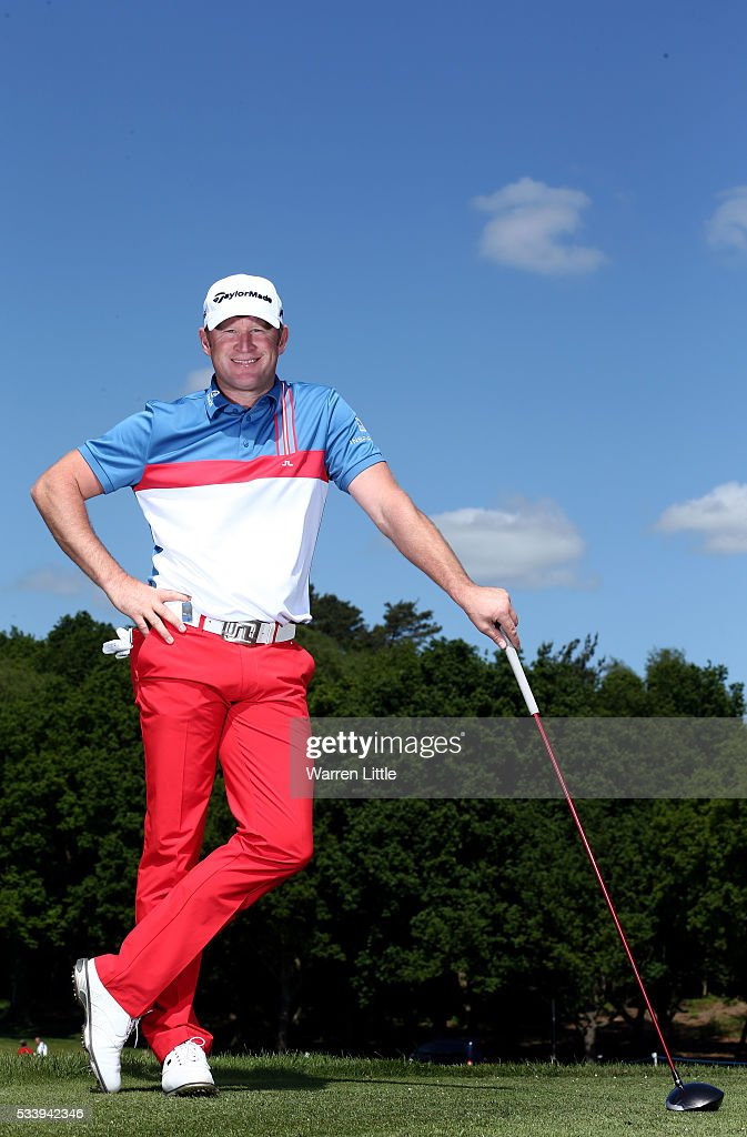 A portrait of <a gi-track='captionPersonalityLinkClicked' href=/galleries/search?phrase=Jamie+Donaldson&family=editorial&specificpeople=241203 ng-click='$event.stopPropagation()'>Jamie Donaldson</a> of Wales ahead of the BMW PGA Championship at Wentworth Golf Club on May 24, 2016 in Virginia Water, England.