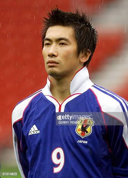 Portrait of Japanese forward Akinori Nishizawa taken 07 October 2001 in Southampton before the start of a friendly soccer match against Nigeria in...