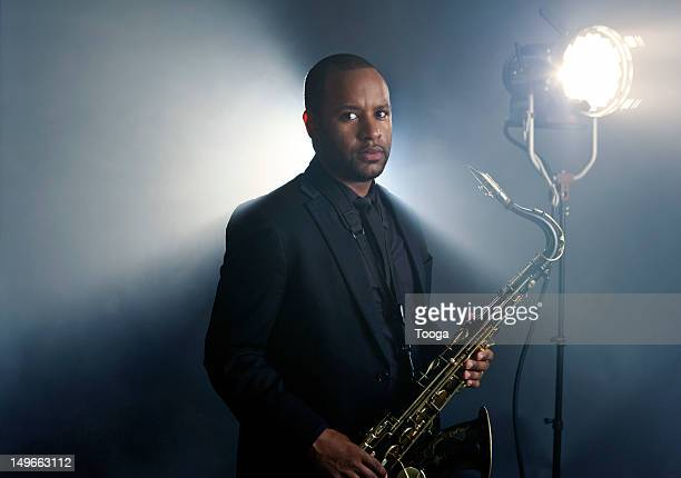 Portrait of jazz musician with stage spotlight