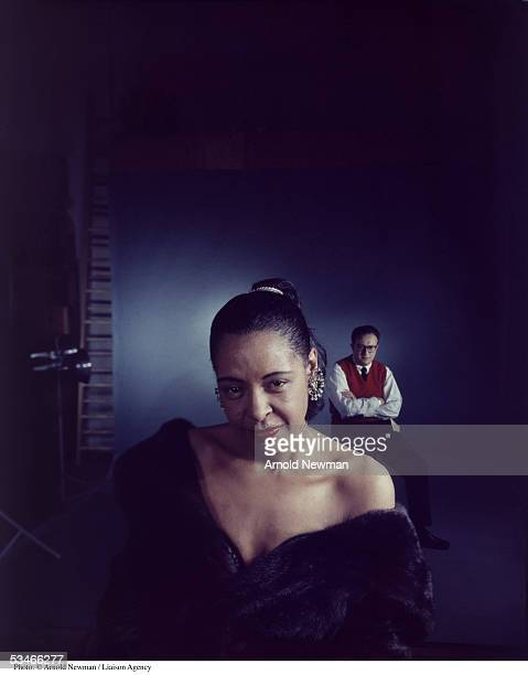 Portrait of jazz singer Billie Holiday with orchestra leader Ray Ellis March 5 1958 in New York City
