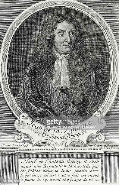 Portrait of Jean de La Fontaine poet and fabulist member of the Academie Francaise engraving France 17th century