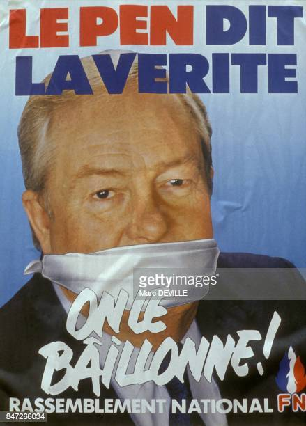 Portrait of Jean Marie Le Pen on poster for Front national meeting on June 10 1990 in Bailly En Riviere France