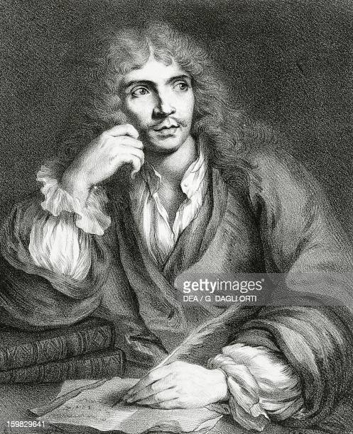Portrait of JeanBaptiste Poquelin known as Moliere French playwright and actor Engraving from a painting by Sebastien Bourdon Paris Bibliothèque Des...