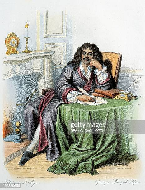 Portrait of JeanBaptiste Poquelin known as Moliere French playwright and actor Colour engraving 19th century
