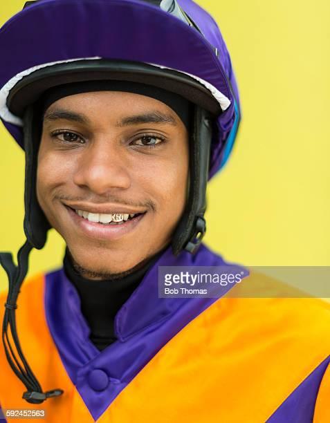 Portrait of Jockey at Racecourse