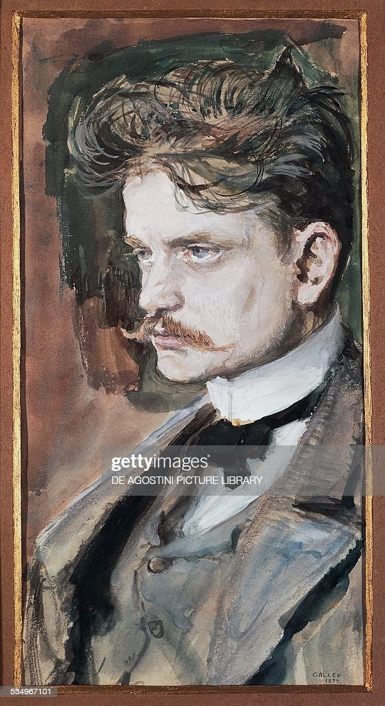 Portrait of Johan Christian Julius Sibelius, known as <a gi-track='captionPersonalityLinkClicked' href=/galleries/search?phrase=Jean+Sibelius&family=editorial&specificpeople=905695 ng-click='$event.stopPropagation()'>Jean Sibelius</a> (Hameenlinna, 1865-Jarvenpaa, 1957), Finnish composer and violinist, painting by Akseli Gallen-Kallela (1865-1931).