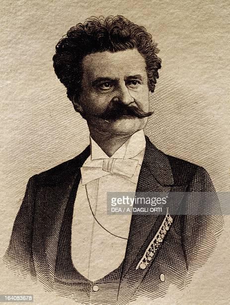 Portrait of Johann Strauss Austrian composer and conductor Engraving Napoli Conservatorio Di Musica San Pietro A Majella Museo Storico Musicale