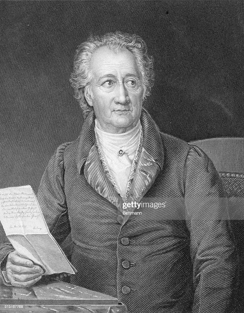 Portrait of <a gi-track='captionPersonalityLinkClicked' href=/galleries/search?phrase=Johann+Wolfgang+von+Goethe&family=editorial&specificpeople=98976 ng-click='$event.stopPropagation()'>Johann Wolfgang von Goethe</a> (1749-1832) German author and playwright wearing two medal on either side of his lapels. Undated engraving.