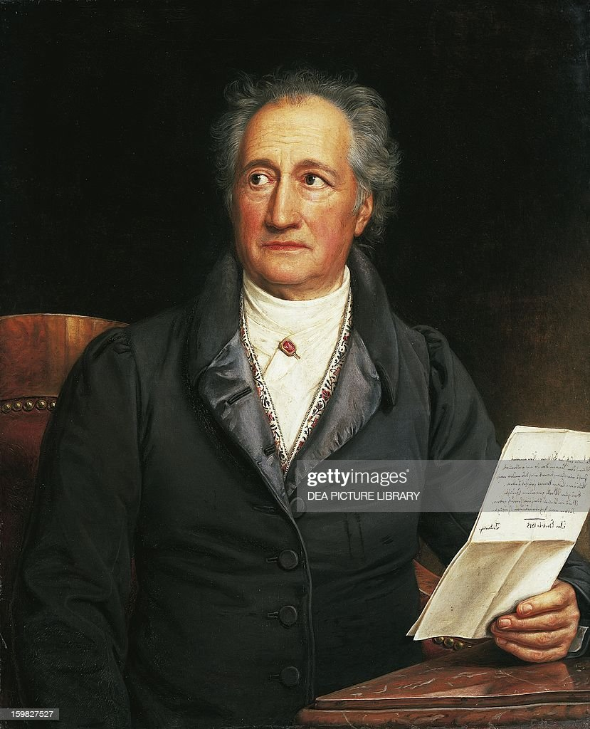 Portrait of <a gi-track='captionPersonalityLinkClicked' href=/galleries/search?phrase=Johann+Wolfgang+von+Goethe&family=editorial&specificpeople=98976 ng-click='$event.stopPropagation()'>Johann Wolfgang von Goethe</a> (Frankfurt am Main, 1749-Weimar, 1832), German playwright, writer and philosopher. Painting by Joseph Karl Stieler, 1828. Monaco, Neue Pinakothek