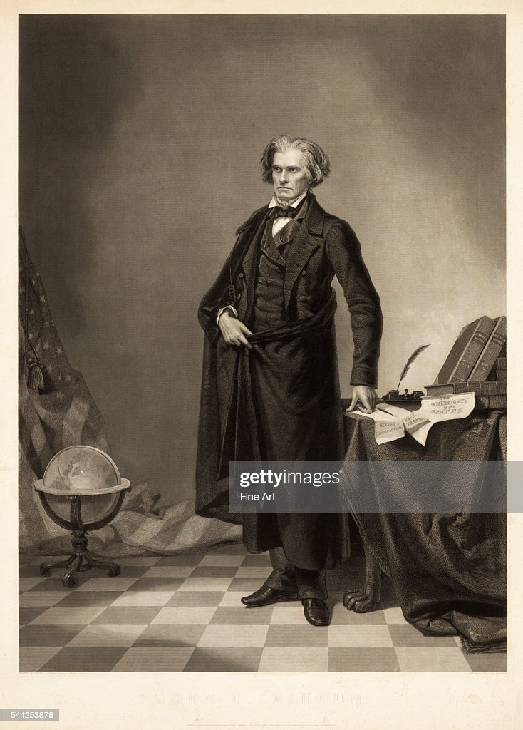 Portrait of John C Calhoun engraving by T Hicks from a daguerreotype by Matthew Brady Published by AH Ritchie Co New York 1852 Calhoun was a noted...