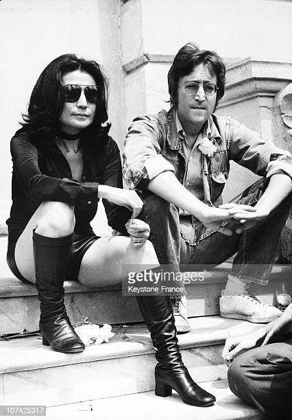 Portrait Of John Lennon And Yoko Ono At Cannes Festival At Cannes In France During Seventies