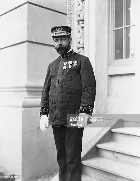 Portrait of John Philip Sousa wearing a band uniform