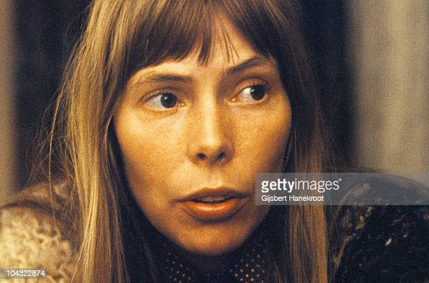 A portrait of Joni Mitchell being interviewed in 1972 in Amsterdam Netherlands