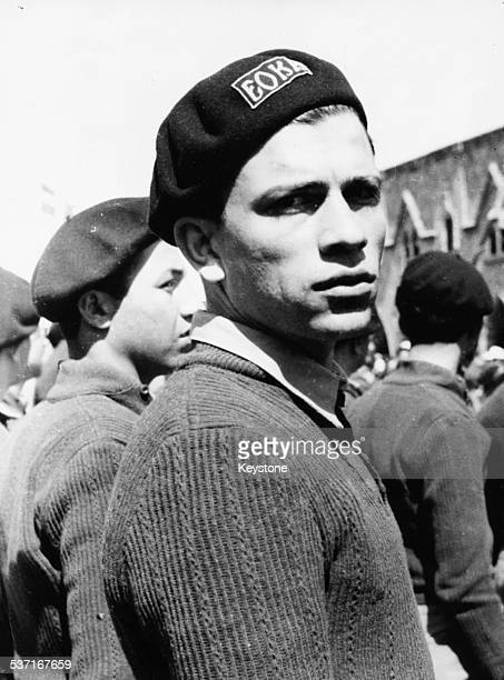 Portrait of journalist and EOKA member Nicos Sampson wearing his EOKA uniform at a rally he is now a target of the Turk Cypriots January 14th 1964
