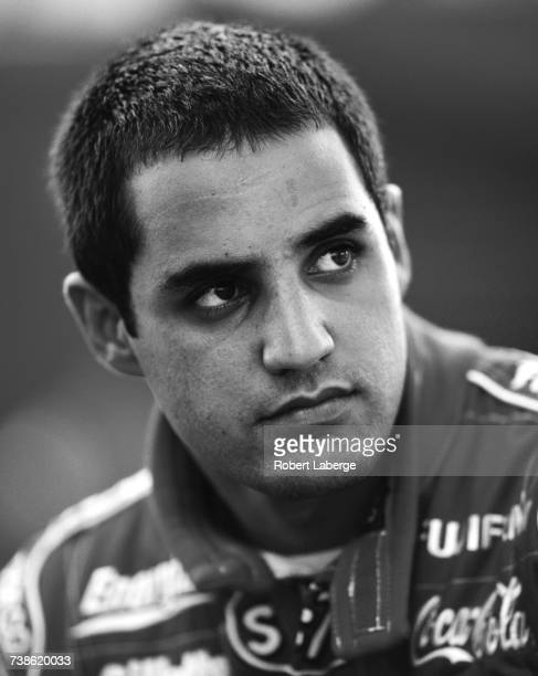 Portrait of Juan Pablo Montoya of Colombia driver of the Target Ganassi Racing Reynard 99i Honda during practice for the Championship Auto Racing...