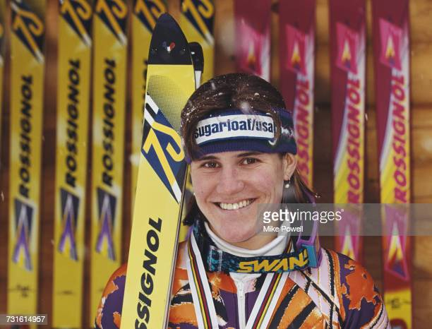 Portrait of Julie Parisien of the United States with her silver medal after finishing second during the Women's slalom event at the FIS Alpine World...